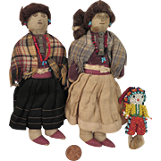 Family of Early Cloth Navajo Dolls