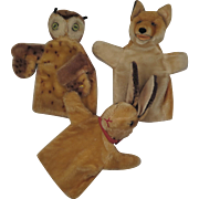 3 Vintage Steiff Puppets Owl Rabbit and Fox