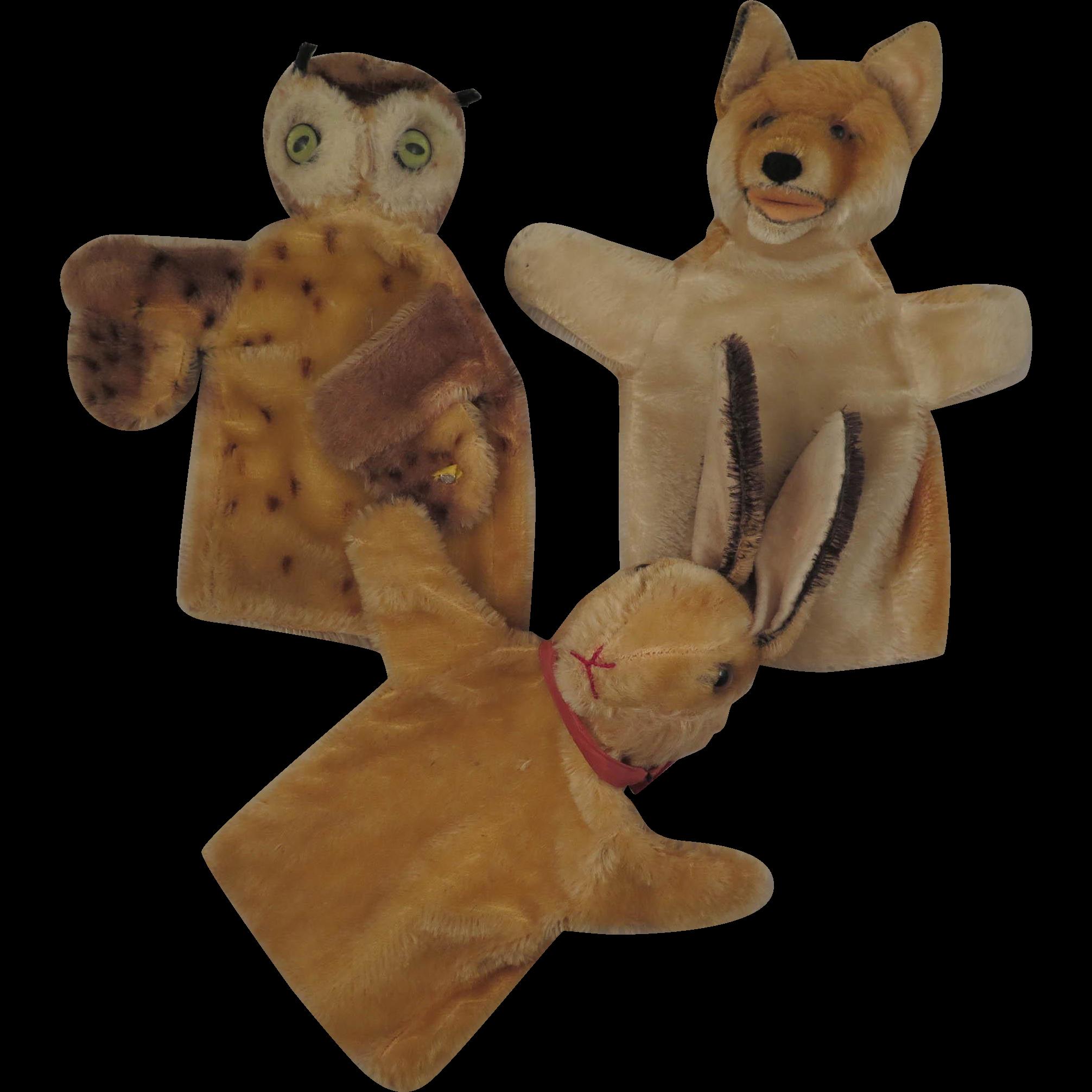 3 Vintage Steiff Puppets Owl Rabbit and Fox