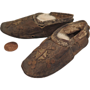 Mid 1800s Leather Doll Child Shoes