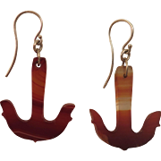 Antique Banded Agate Anchor Earrings