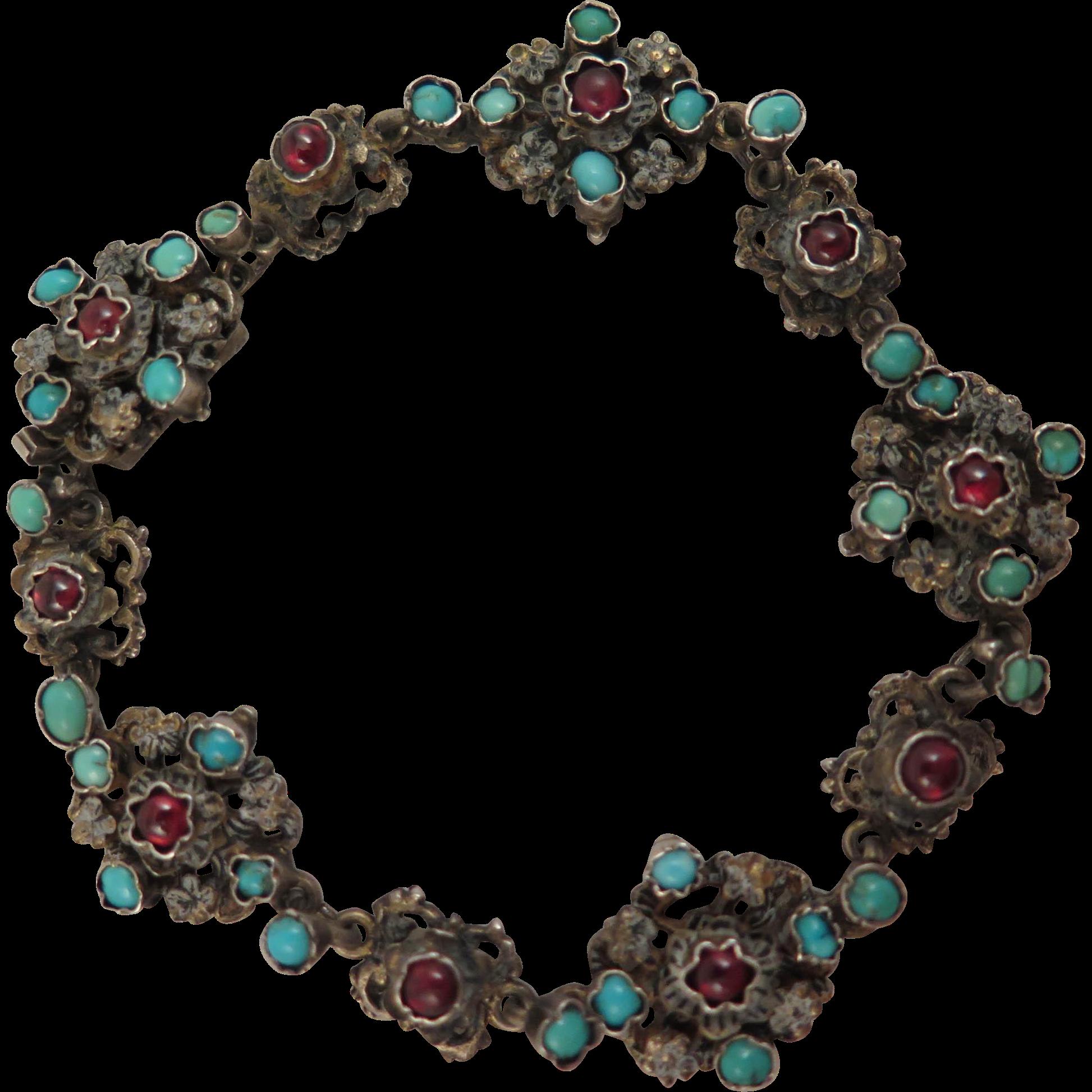 Antique Austro Hungarian 800 Silver Turquoise Garnet Bracelet