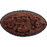 Early Chinese Export Carved Nut Wood Sterling Brooch