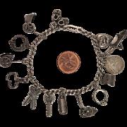 14 Charm Sterling Silver Vintage 1940s Charm Bracelet