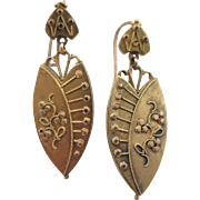 Victorian Etruscan Revival 10K Earrings