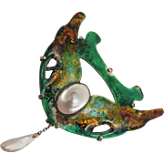 Arts & Crafts Sterling Enameled Pearl Brooch