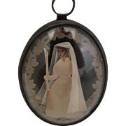 Victorian Glass Domed Locket with Paper Doll