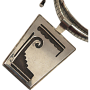 Vintage Sterling Silver South Western Pendant Necklace