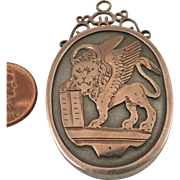 Victorian Lion of St. Mark Sterling Silver Locket Pendant Brooch
