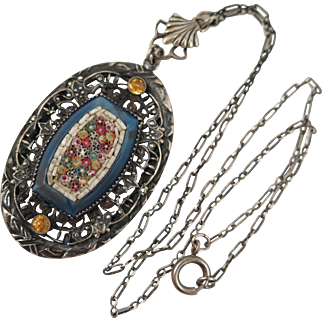 Early 1900s 800 Silver Mosaic Pendant Necklace