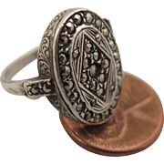 Early 1900s Sterling Silver Marcasite Locket Ring Size 6.5