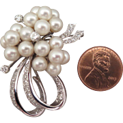 1950s 14K Diamond Pearl Pendant Brooch