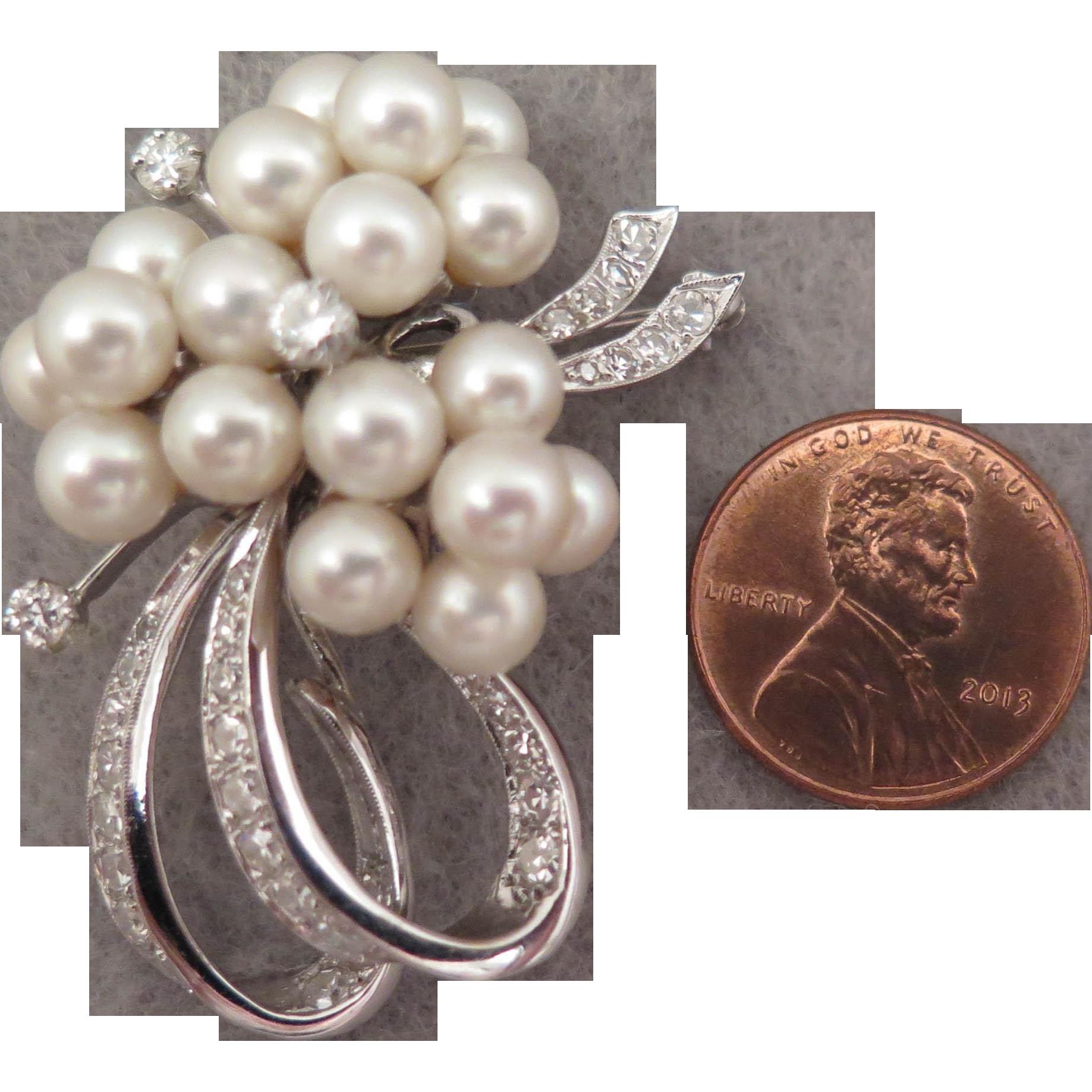 1950s 14K Diamond Pearl Pendant Brooch