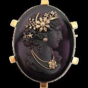 Victorian Amethyst Glass Pâte de Verre Cameo Brooch