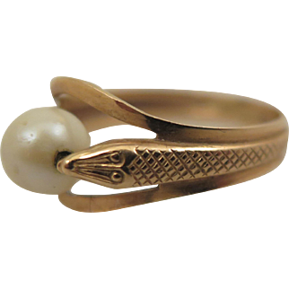 Early 1900s 18K Pearl Snake Ring Size 7.5