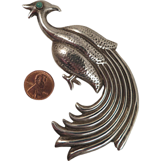 1930s Mexican Sterling Silver Peacock Brooch