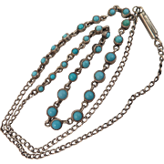 Antique Sterling Silver Turquoise Necklace