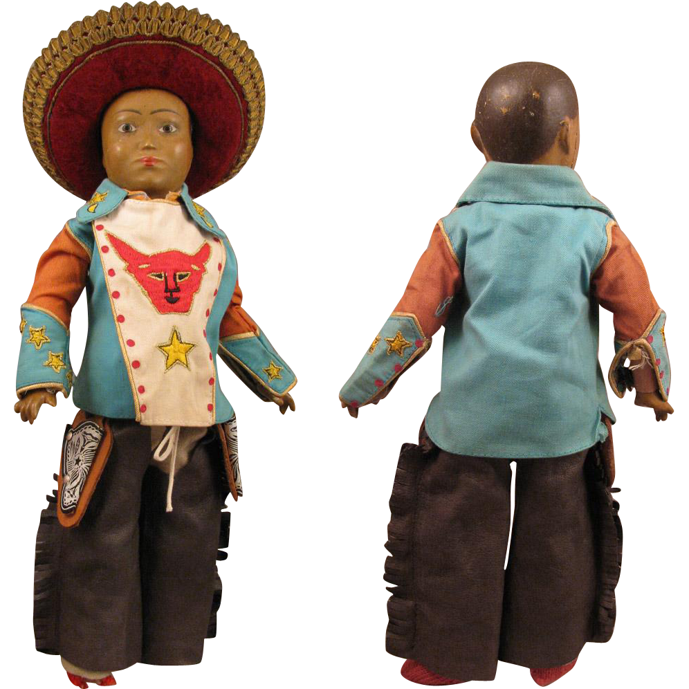Early 1900 Ethnic 15 inch Doll with Compo Head and Ball Jointed Body