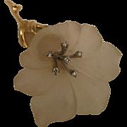 Vintage 14K Frosted Crystal Flower Brooch w/ Diamonds by Baumstein & Feder
