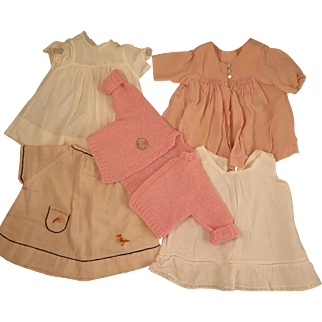 1930s-40s Dresses, Slip, Sweater Doll Clothes Set for 15 inch