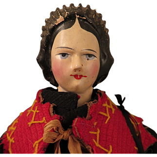 Antique German Wood Peddler Doll 15 inch