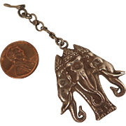 Antique Raj Sterling Silver Elephant Fob Pendant
