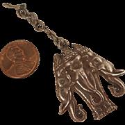Antique Raj Sterling Silver Elephant Fob Pendant