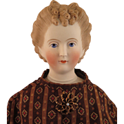 1870s Kling Parian Bisque Doll with Fancy Hairdo 22 inches