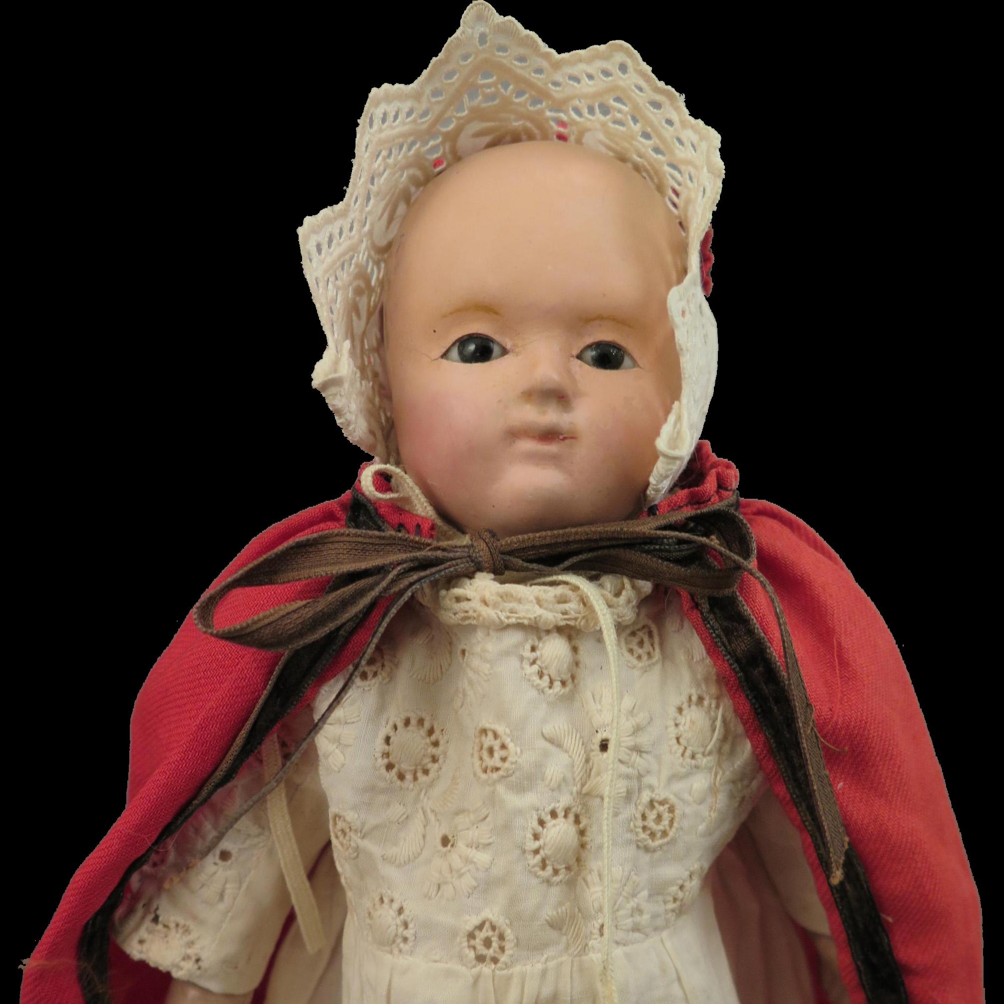 Mid 1800s German Motschmann Taufling Baby Doll 9 inches