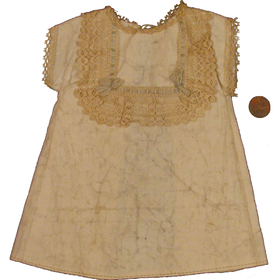 Early 1900s Original Factory Made Doll Dress for 12 inch Bisque Doll