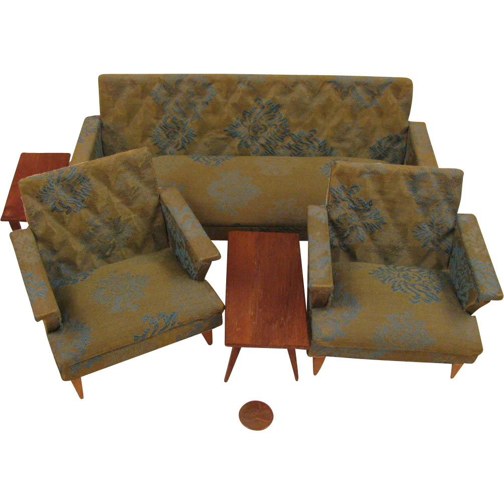 Mid Century Modern Doll House 5 pc. Living Room Furniture Set - Mid Century Modern Doll House 5 Pc. Living Room Furniture Set From