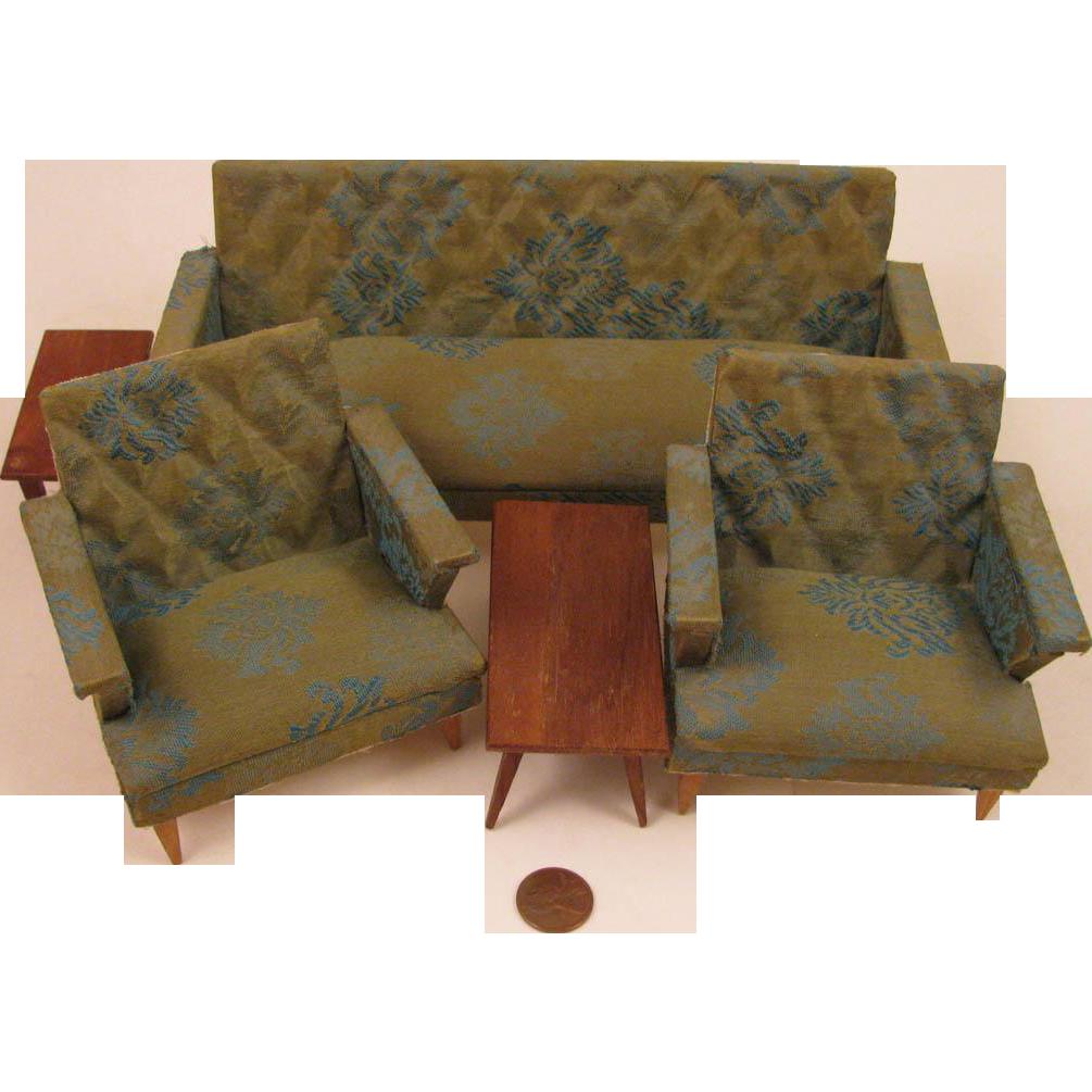 Mid Century Modern Doll House 5 Pc Living Room Furniture Set From Virtu Doll On Ruby Lane