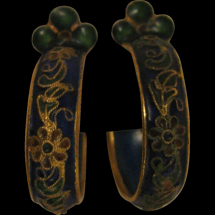 Early 1900s Chinese Enameled Earrings