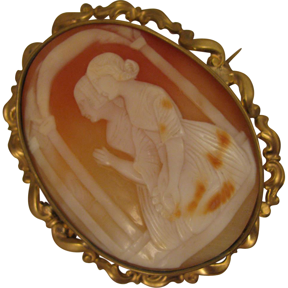 Antique Cameo Brooch of 2 Women Kneeling in Prayer