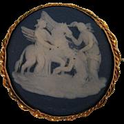 1875 Wedgwood Cobalt Blue Jasperware Pegasus Cameo 9K Brooch