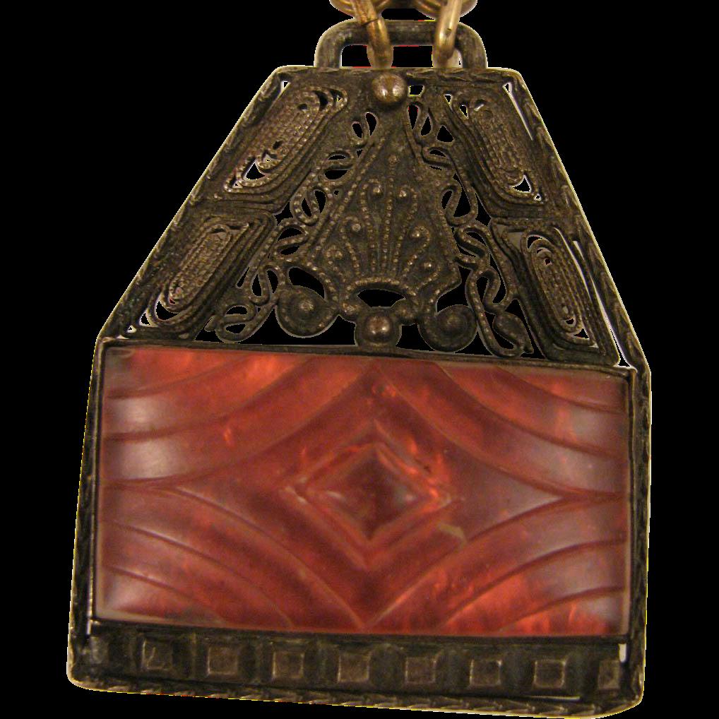 Vintage Czech Glass Pendant Necklace
