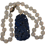 Early 1900s Chinese Export Carved Cranes & Ginko Lapis Pendant on Faux Moonstone Necklace
