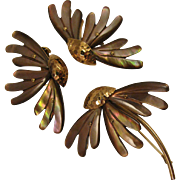 Vintage 1950s German Mother of Pearl Abalone Flower Brooch and Earring Set