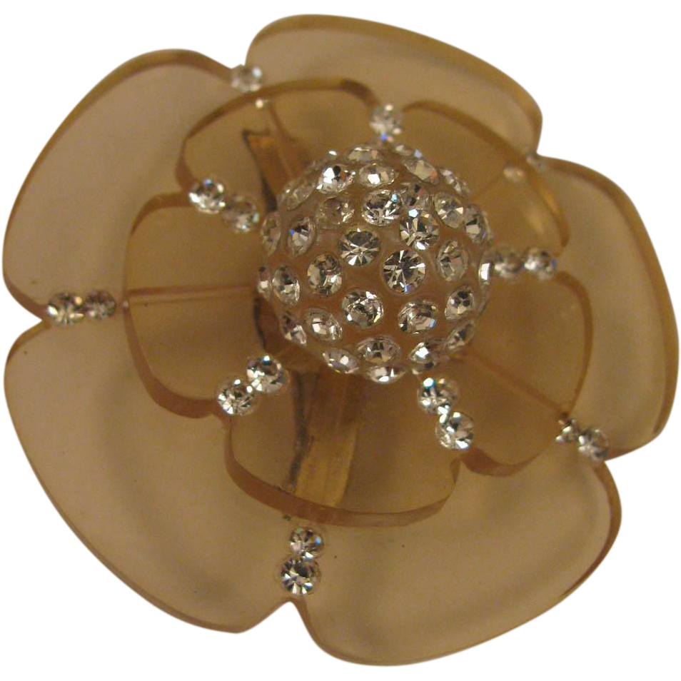 Mid Century Mod Lucite and Rhinestone Tiered Flower Brooch