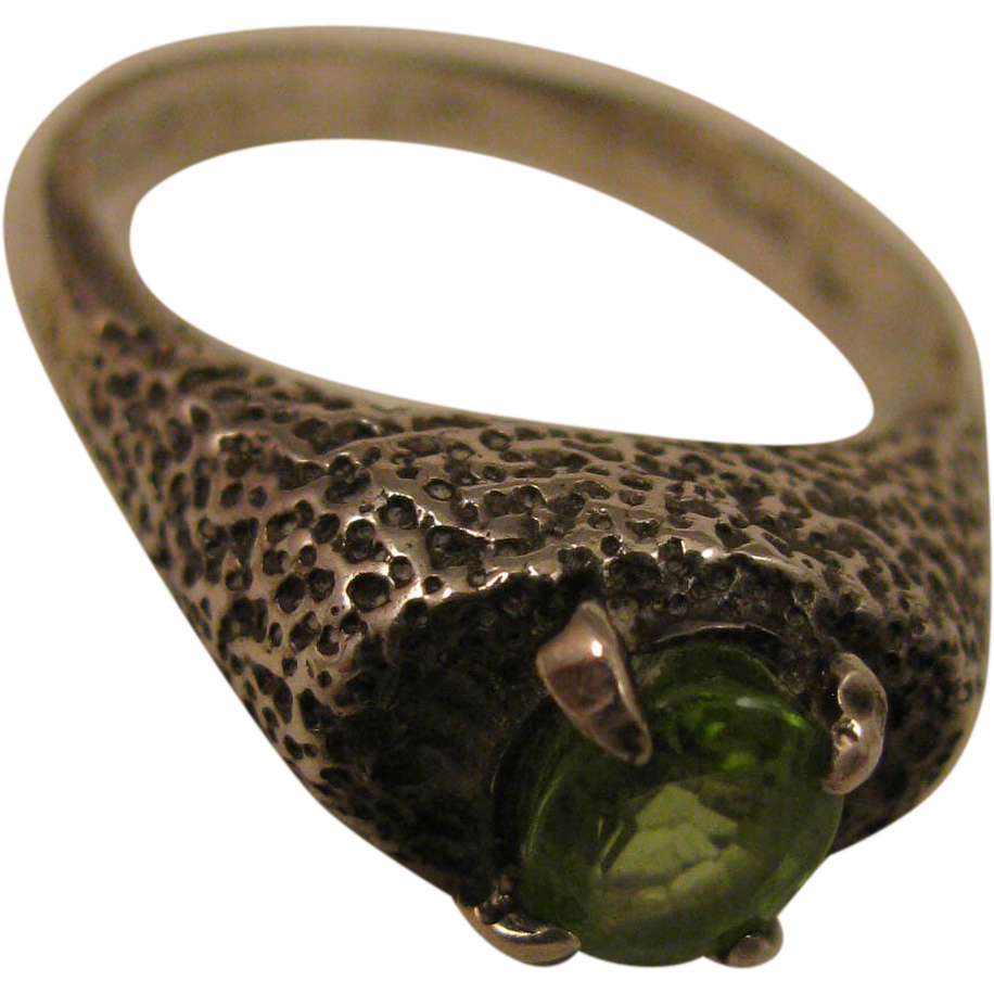 Arts and Crafts Sterling Silver Peridot Ring Size 8