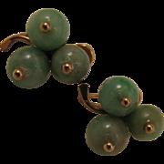 Vintage 14K Green Jade Shamrock Clover Earrings