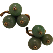 Vintage 14K Green Jade Shamrock Clover Earrings