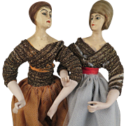 Pair Early 1900s German Boudoir Dolls 7.5 inches