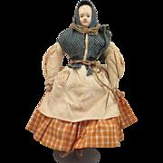 1850s German Papier Mache Doll All Original 9 inches