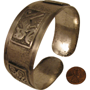 Vintage American Southwestern Coin Silver Cuff Bracelet