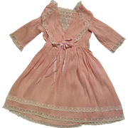Antique Pink Silk 14 inch Dress for Bisque Doll
