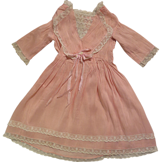 Antique Pink Silk 14 inch Dress for Bisque Doll