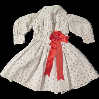 "Antique Cotton Print 13"" Dress for Bisque Doll"