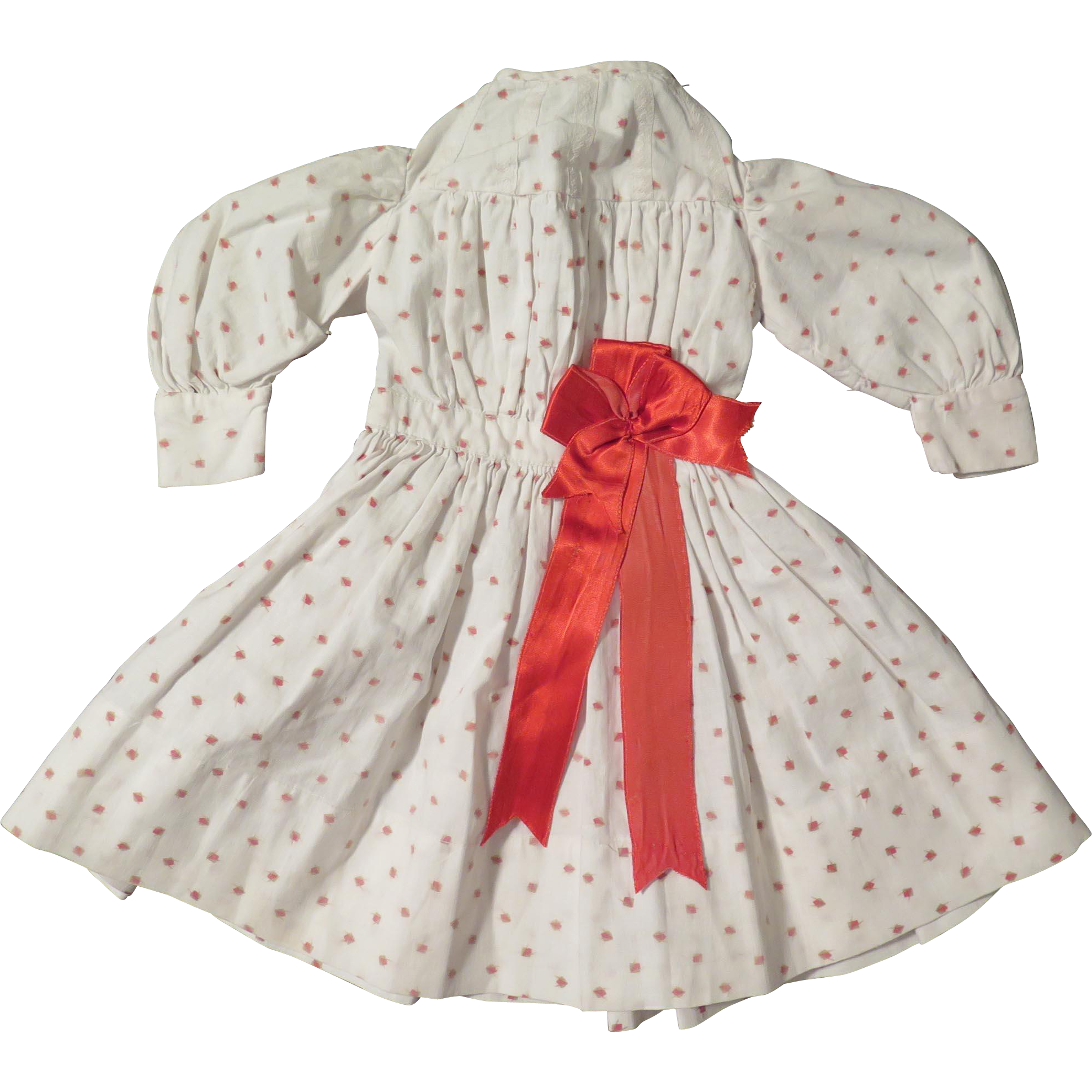 "Antique Cotton Print 13"" Dress for Bisque Doll"
