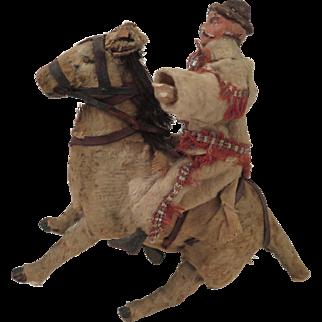 Antique Pancho Villa Doll on Donkey Wind Up Toy
